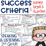 Success Criteria for Common Core Learning Targets in Speak & Listen 2nd Editable