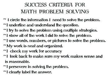 Success Criteria for Math Problem Solving