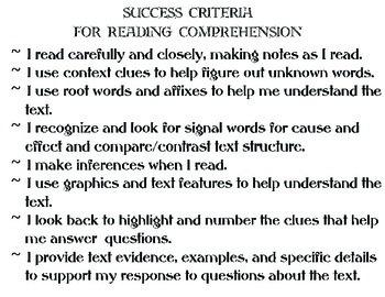 Success Criteria for Reading Comprehension
