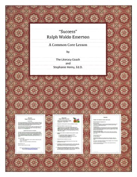 """""""Success"""" - Ralph Waldo Emerson - A Common Core Lesson """"into"""" the Essay"""