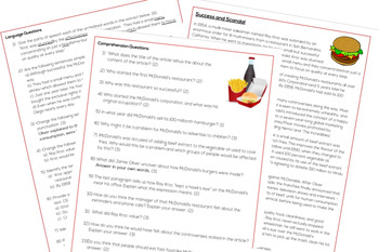 Success and Scandal - A Comprehension and Language Task About McDonald's