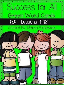 Success for All (SFA) Green Word Cards Lessons 4-48