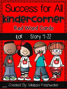 Success for All (SFA) KinderCorner Red Word Cards