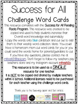 Success for All SFA Reading Roots Challenge Word Cards (Lesson 38-48)