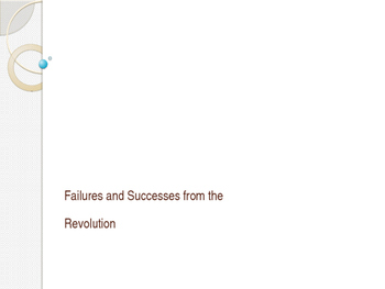 Successes and Failures of the Revolution