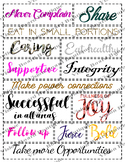 Successful Life vision board affirmations, personal growth and development words