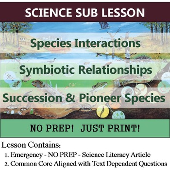 Succession & Symbiosis Science Sub Plan OR Common Core Homework