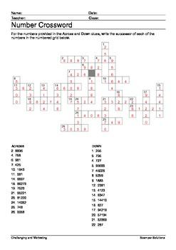 Successor Number Crossword