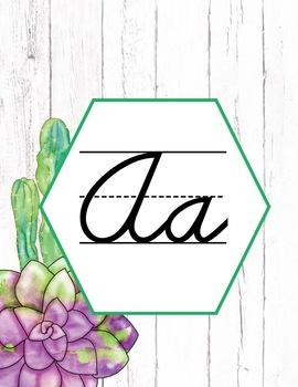 Succulent Alphabet Posters Cursive