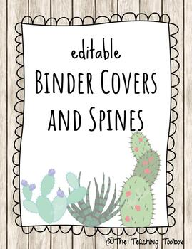 EDITABLE Succulent Binder Covers and Spines