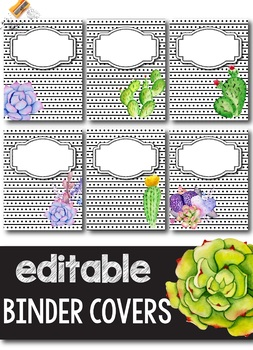 Succulent Binder Covers and Spines EDITABLE - Succulent Decor