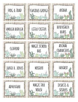 Succulent Book Bin Labels