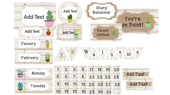 Succulent, Burlap and White Wood Theme Classroom Decor