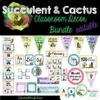 Succulent- Cactus Classroom Decor Bundle (Editable)