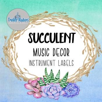 Succulent/Cactus Music Decor- Instrument Labels