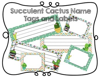 Succulent Cactus Name Tags and Labels
