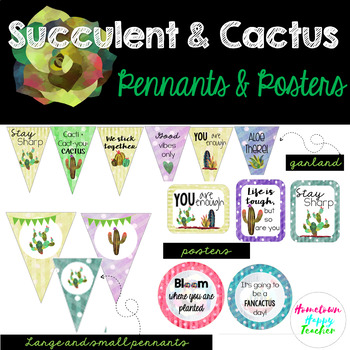 Succulent- Cactus- Pennants & Posters (Editable)