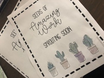 Succulent/Cactus Themed Work Display Holders