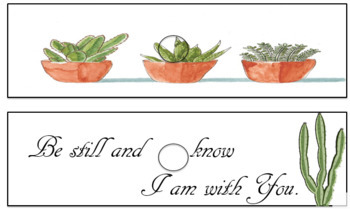 Succulent Cactus Watercolor Inspirational Quote 10 Drawer Cart Label