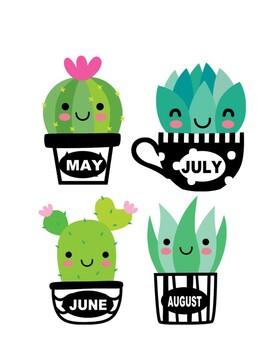 Succulent Calendar Birthday Board Chart Months Clipart