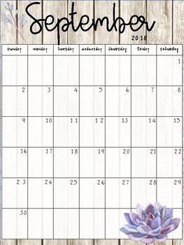 Succulent Calendar Pages