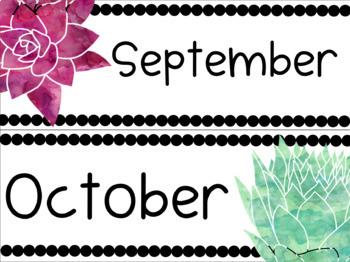Succulent Calendar Pieces (12 Months, 31 Days, 2 Days of the Week Sets)