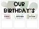 Succulent Classroom Birthday Bulletin