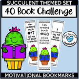Succulent Classroom Decor 40 Book Challenge Bookmarks
