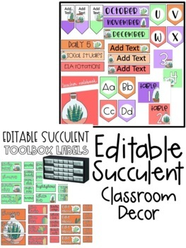 Succulent Classroom Decor EDITABLE