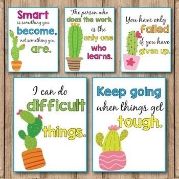 Succulent Classroom Decor - Growth Mindset Posters - Editable