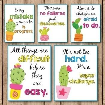 Cactus Classroom Decor, Growth Mindset Poster Editable Succulent