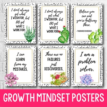 Succulent Classroom Decor - Growth Mindset Posters - Editable