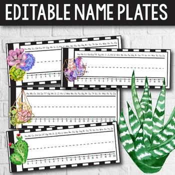 Editable Name Plates-  Succulent Classroom Decor