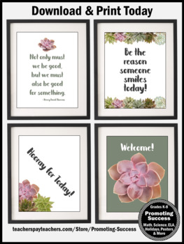 Succulent Classroom Decor Set 5, Motivational Quote Posters