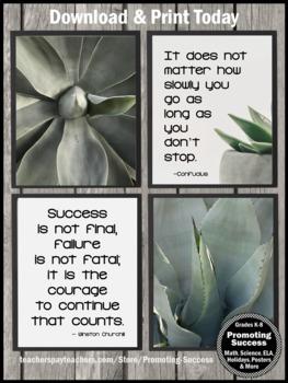 Succulent Classroom Decor Succulents Set 2, Inspirational Quote Posters