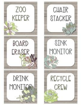 Succulent Classroom Job Chart