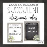 Succulent Classroom Rules {Editable}