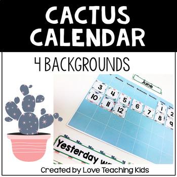 Succulent Classroom Theme- Cactus Calendar Set