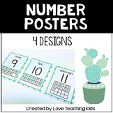 Succulent Classroom Theme- Cactus Number Posters 0-20 with