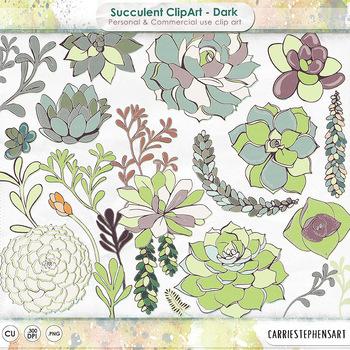 Succulent ClipArt, Succulent Plants, Flower Clip Art, PNG Digital Graphics