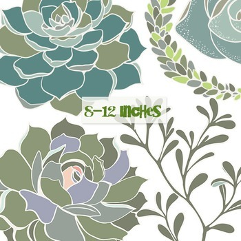 Succulent ClipArt Flowers with White Outlines