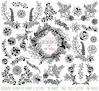 Succulent Clipart Clip Art, Succulent Silhouettes, Succulent Digital Stamps