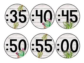Succulent Clock Minute Labels