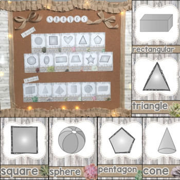 Succulent Theme Colors, Numbers, & Shapes with Burlap & Shiplap