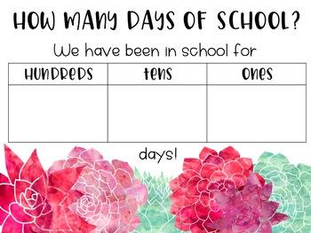 FREEBIE: Succulent Days of School Place Value Chart