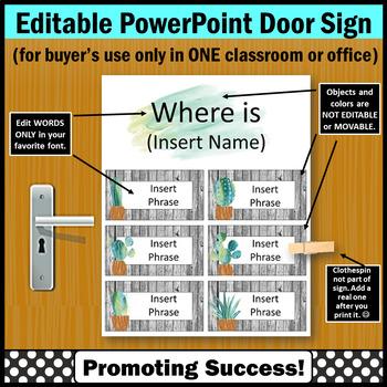 Where Are We Door Sign EDITABLE, Modern Farmhouse Classroom Decor
