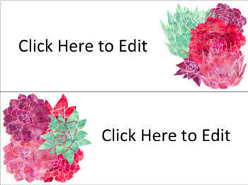Succulent Editable Skinny Name Tags and Labels (67 Editable Labels)