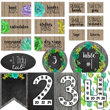 Editable Succulent Farmhouse Chic Classroom Decor & More Growing Mega Bundle
