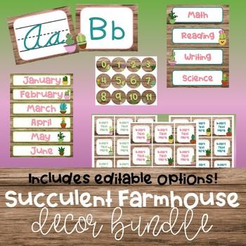 Succulent Farmhouse Decor Bundle {Editable!}