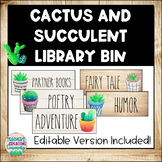 Succulent Farmhouse Style Library Labels with EDITABLE Pages